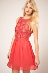 ASOS Collection Asos Skater Dress With Flower Applique - Lyst