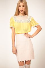ASOS Collection Asos Blouse with Pleating and Lace Yoke - Lyst