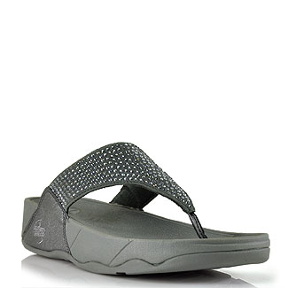 Fitflop Rokkit Pewter Metallic Leather Crystal Thong