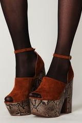 Free People Studio Ltd Platform in Brown (tan suede / beige snake bottom) - Lyst