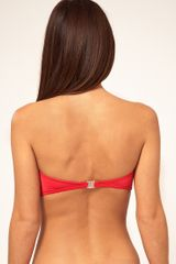 French Connection Plain Twist Padded Bandeau Bikini Top in Red (persistantpink) - Lyst
