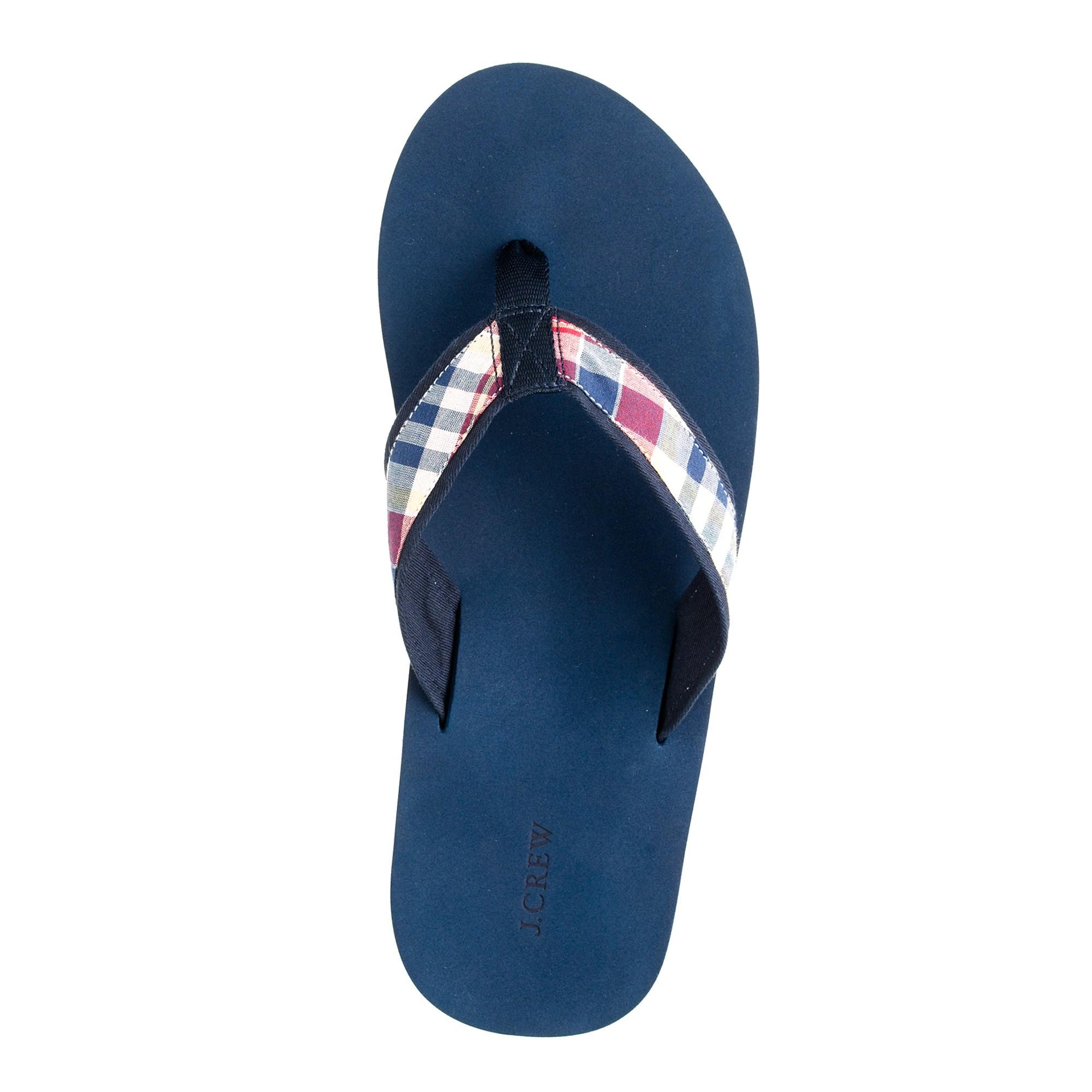 J Crew Indian Cotton Summer Plaid Flip Flops In Blue For