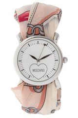 Moschino Watch With Dual Leather And Silk Straps in Pink - Lyst