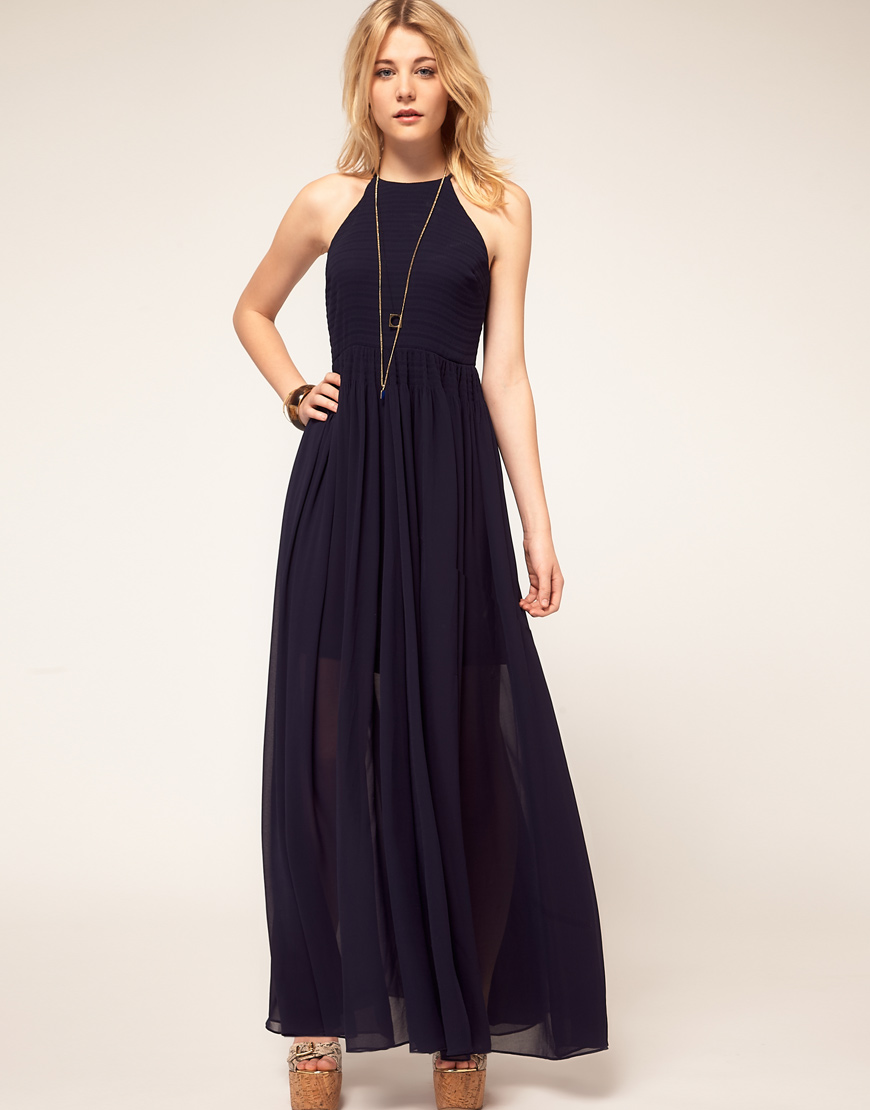 French connection French Connection Halter Maxi Dress in Blue - Lyst