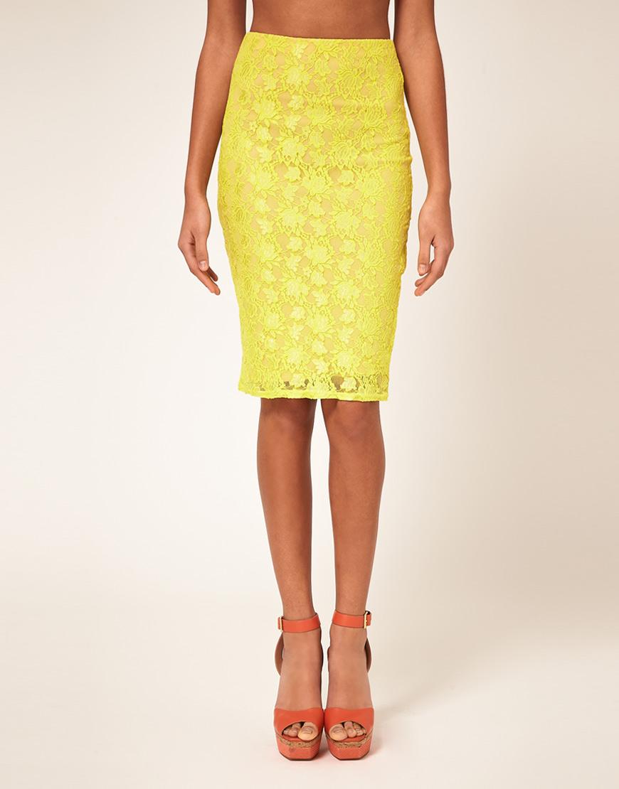 yellow lace pencil skirt dress ala