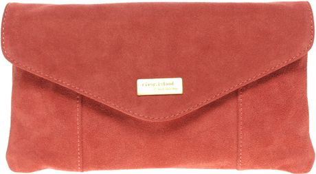 River Island Suede Envelope Clutch Bag in Red (pink) - Lyst