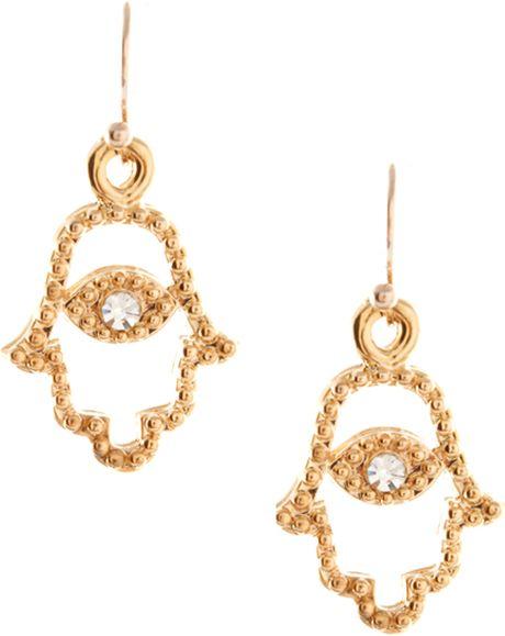 Swarovski Orelia Gold Hamsa Hand Drop Earrings in Gold ...