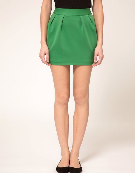 Tba Asos Mini Skirt with Pleats in Green