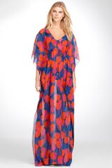 Tory Burch Print Silk Long Caftan - Lyst