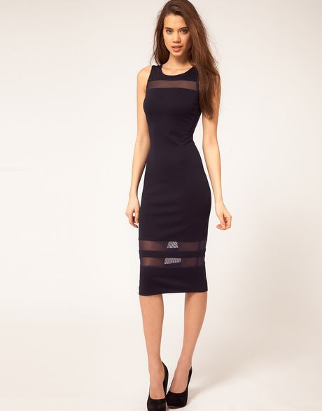 Asos Collection Asos Midi Dress with Mesh Inserts in Blue (navy) - Lyst