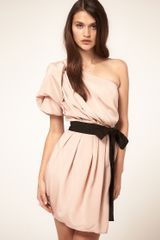 Asos Collection Asos One Shoulder Drape Dress With Contrast Belt in Pink (nude) - Lyst