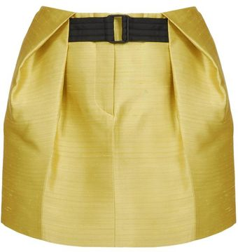 Balenciaga Pleat Tucked Silk Shantung Skirt - Lyst