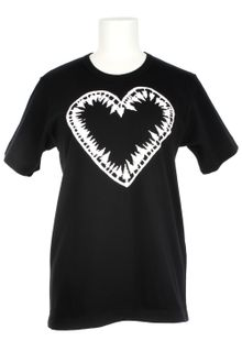Comme Des Garçons Comme Des Garçons Black Stretch Cotton T-shirt with A Heart and Trees White Print - Lyst
