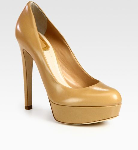 Dior Miss Leather Platform Pumps in Gold (black)