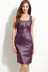 Donna Ricco Jeweled Stretch Taffeta Sheath Dress - Lyst