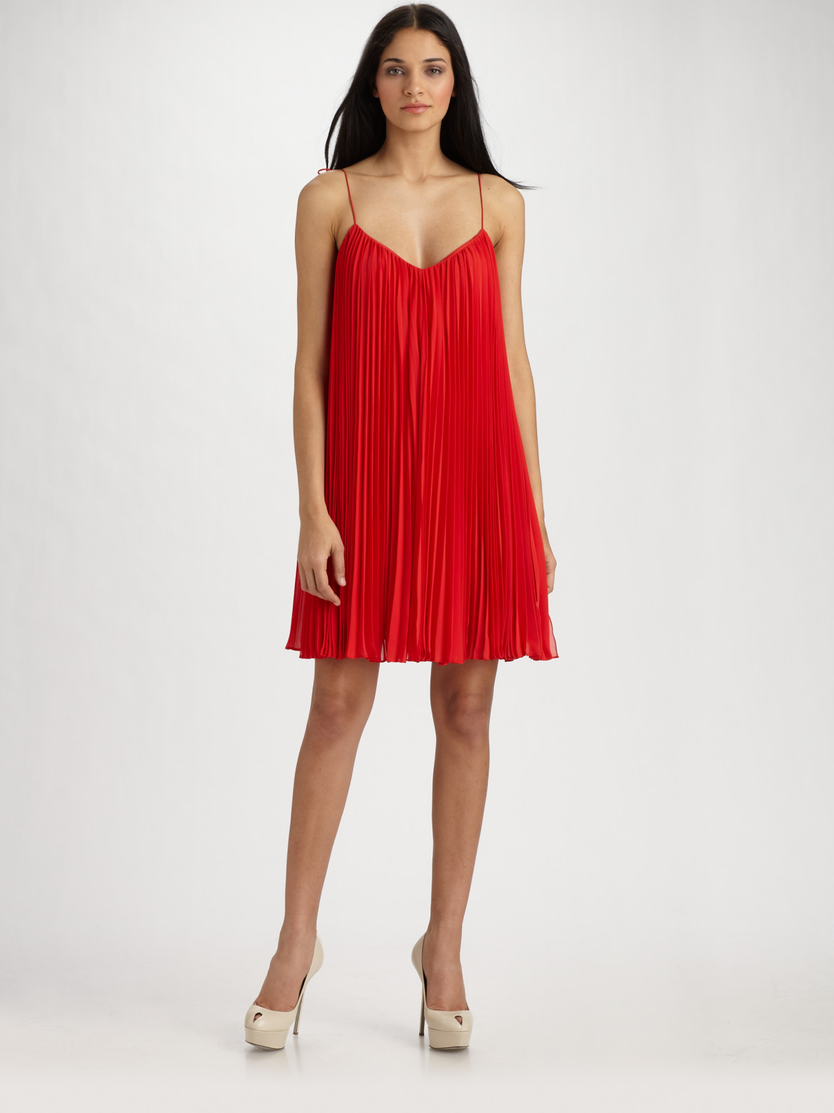 Halston Pleated Spaghetti Strap Dress in Red - Lyst