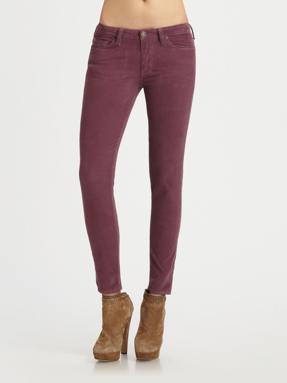 Hudson jeans Nico Mid-rise Skinny Corduroy Pants in Purple | Lyst