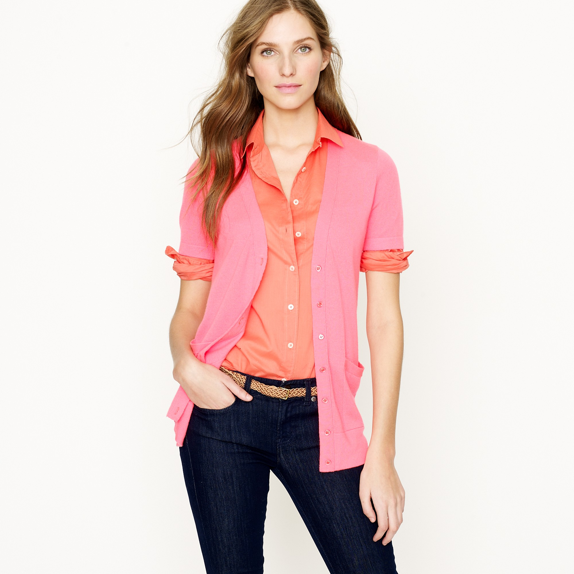 J.crew Featherweight Cashmere Short-sleeve Cardigan in Pink | Lyst