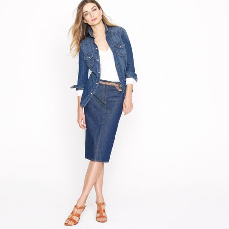 j crew high waisted denim pencil skirt in farmstand wash