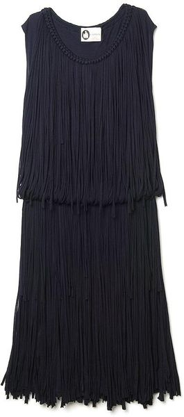 Lanvin Sleeveless Fringe Dress - Lyst