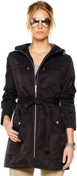 Michael Kors Packable Zip Trench in Black
