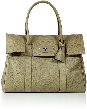 Mulberry Summer Khaki Snake Embossed Bayswater Bag - Lyst