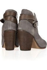 Rag & Bone Harrow BrushedLeather Ankle Boots in Gray (brown) - Lyst