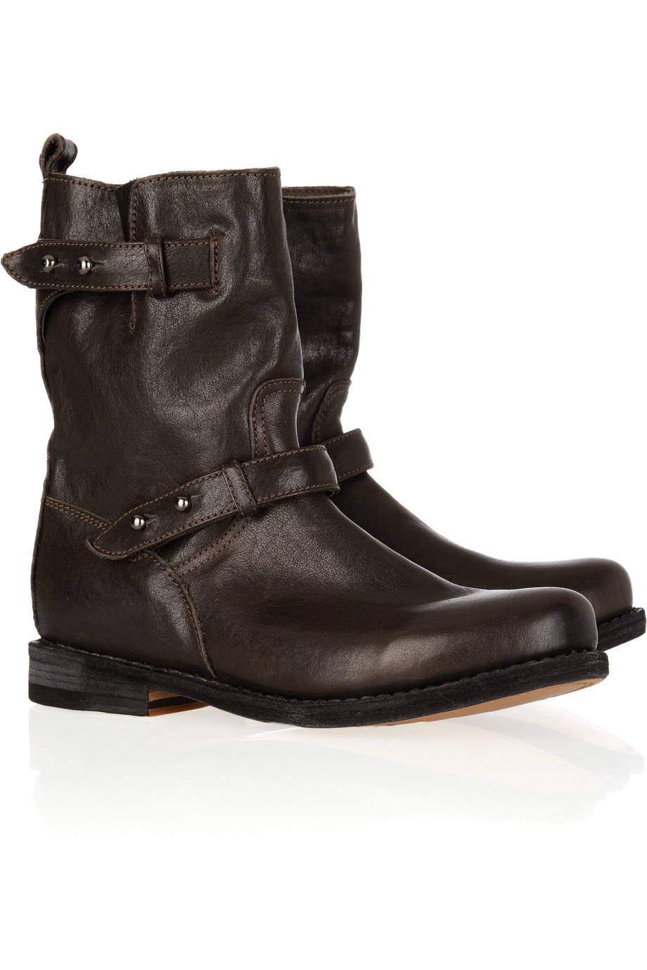 Rag Amp Bone Moto Leather Biker Boots In Brown Lyst