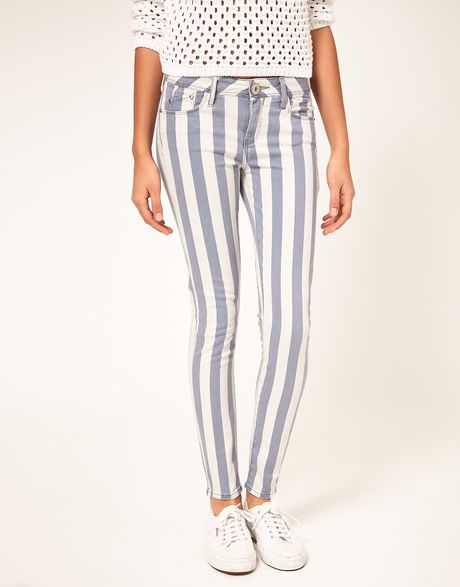 River Island Blue Stripe Skinny Jeans in Blue - Lyst