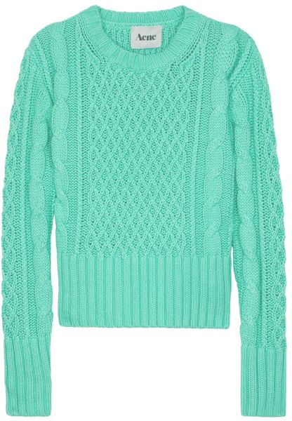 Acne Studios Lia Cable Knit Sweater in Blue