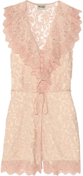 Alice By Temperley Surya Lace Playsuit in Pink (rose) - Lyst