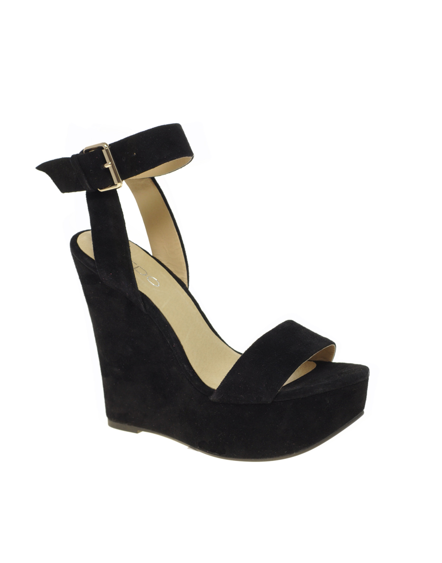 aldo aldo harvat suede wedge sandals in black lyst