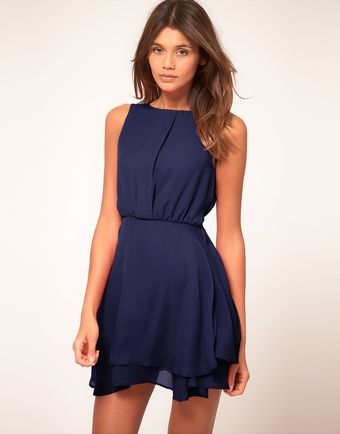 ASOS Collection Asos Sleeveless Mini Dress with Double Skirt - Lyst
