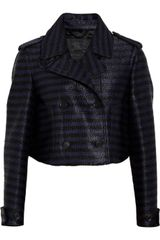 Burberry Prorsum Striped Raffia-weave Cropped Jacket - Lyst