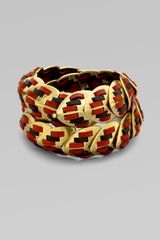 Giles & Brother Leather Accented Double Wrap Armor Bracelet