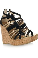Jimmy Choo Suede and Leather Multi-strap Wedge Sandals - Lyst