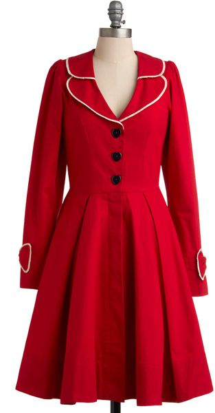Modcloth In Love And Beyond Coat in Red (strawberry) - Lyst