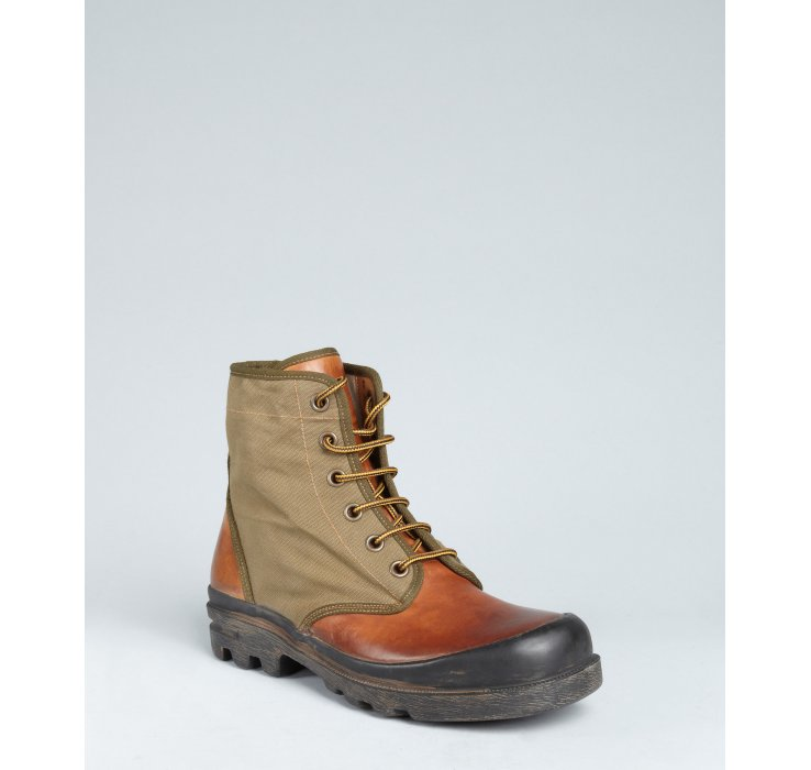 Ralph Lauren Olive Canvas And Leather Ransley Lace Up