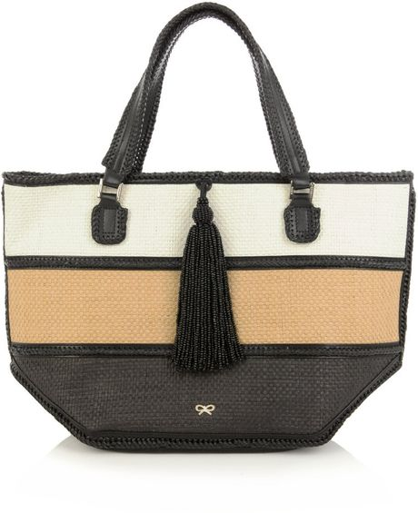 Anya Hindmarch Tri-colour Straw Bag in Multicolor (black)
