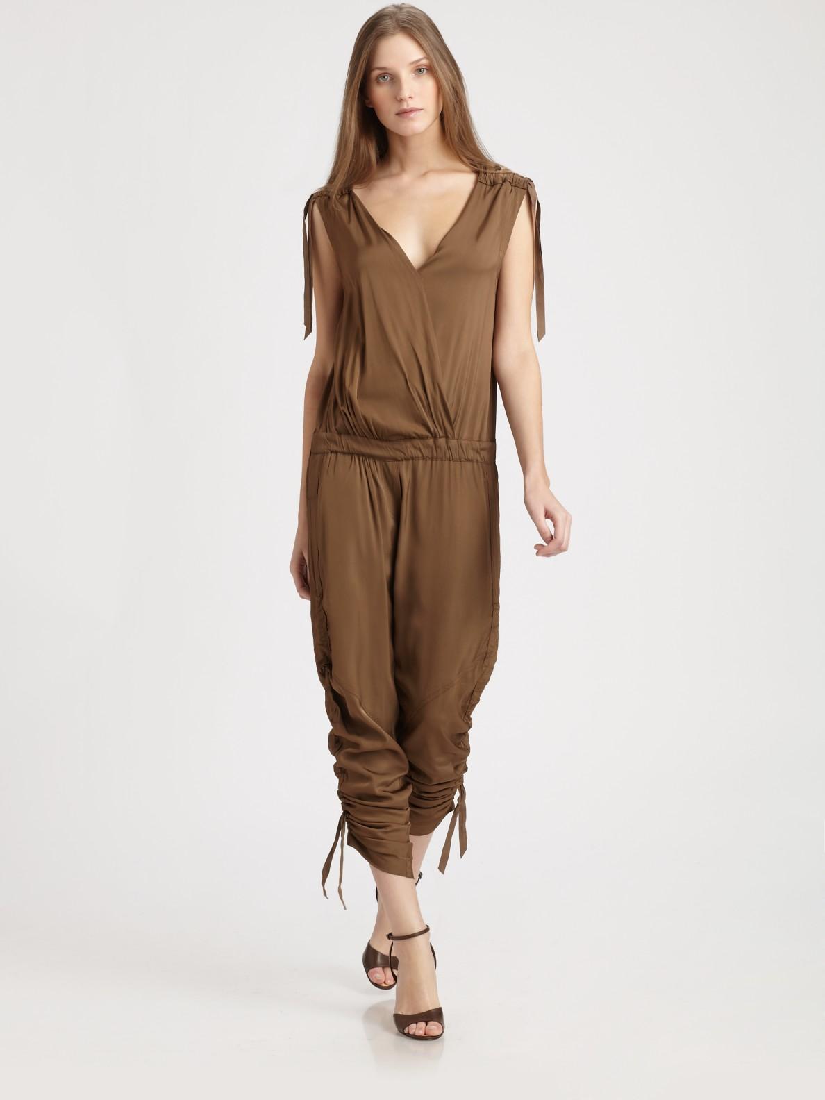 Donna karan new york draped jumpsuit in brown lyst for Donna karan new york