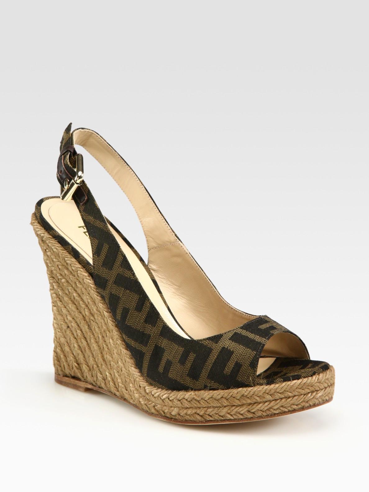 fendi monogram canvas slingback espadrille wedge sandals