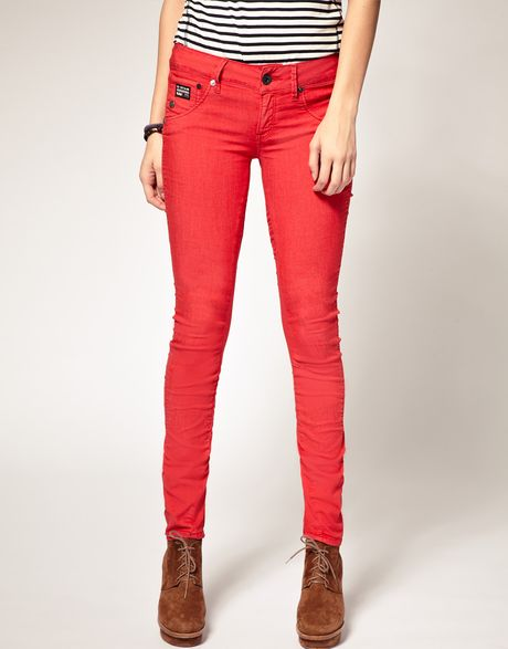G-star Raw Arc Coloured Skinny Jeans in Red