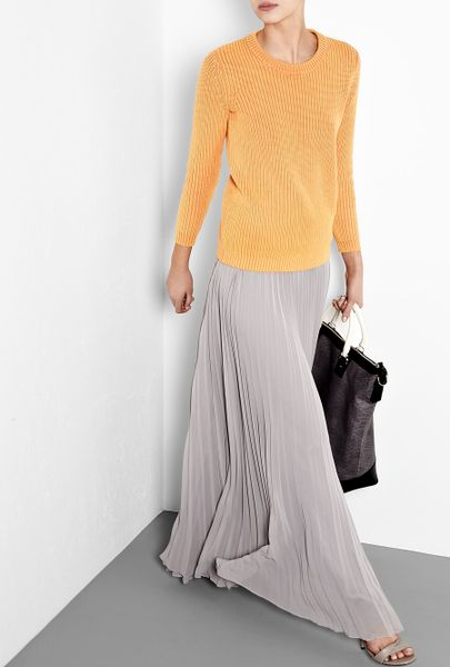 heritage grey pleated maxi skirt in gray grey lyst