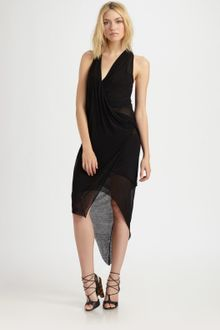 Helmut Lang Viscose Film Drape Dress - Lyst