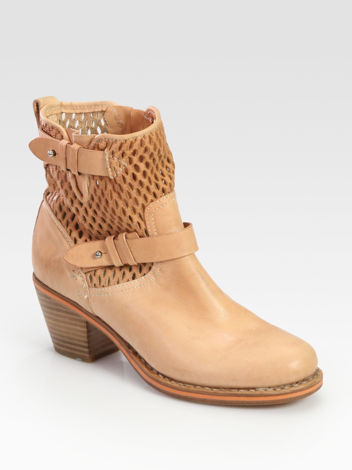 Rag & Bone Leather Perforated Ankle Boots