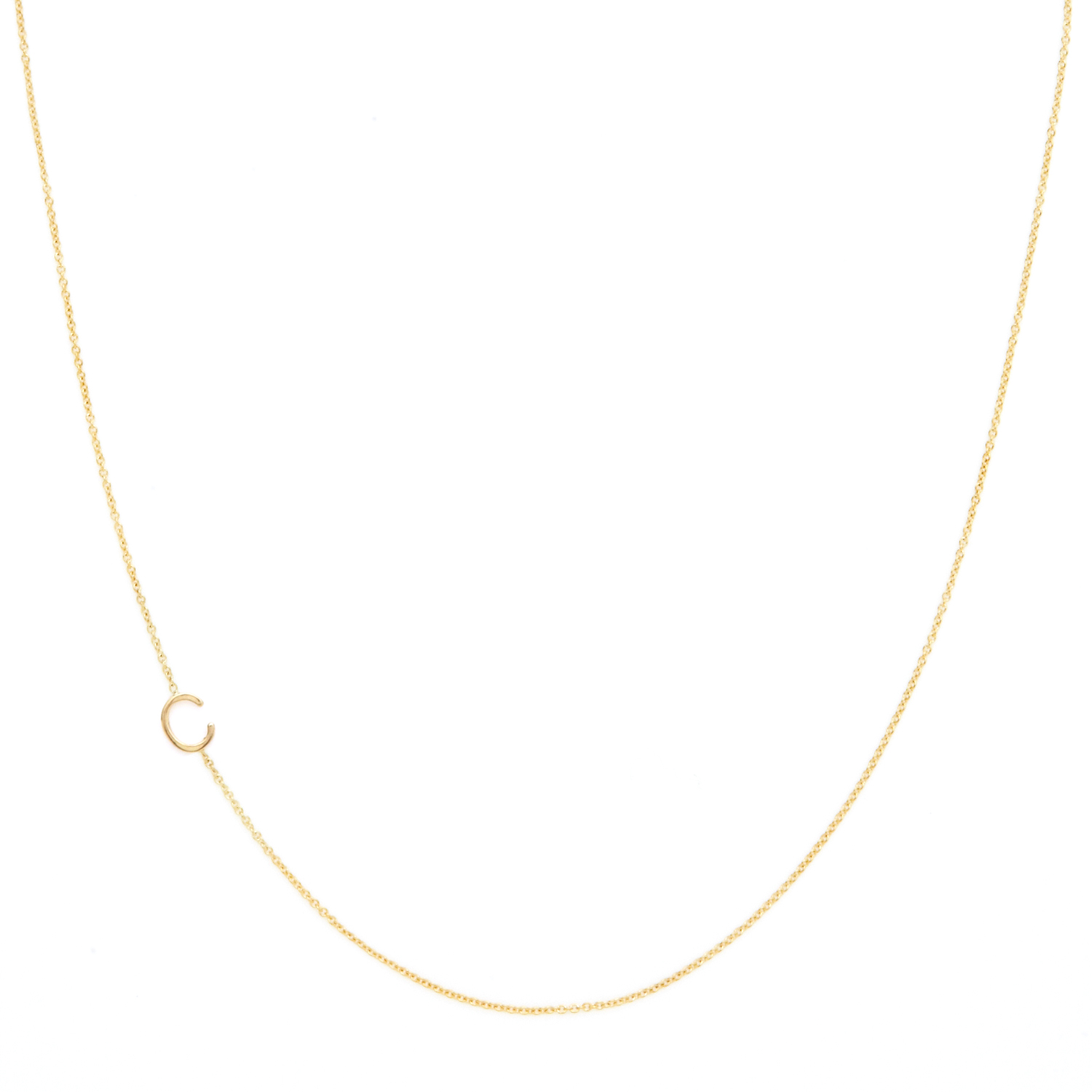 steven alan asymmetrical mini letter necklace c in gold With mini letter necklace