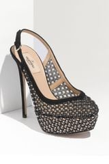 Valentino Carol Crystal Embellished Suede and Mesh Slingbacks in Black - Lyst
