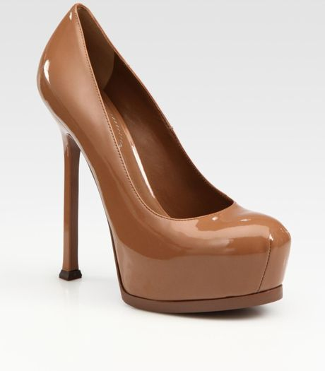 Saint Laurent Ysl Trib Too Patent Leather Pumps in Brown (tan) - Lyst