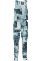 Emma Cook Hannah Denim-print Silk and Cotton-blend Jumpsuit - Lyst