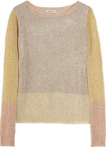 Emma Cook Metallic Color-block Fine-knit Sweater - Lyst